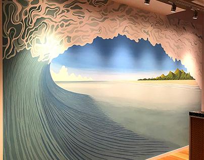 """mural of the """"wework"""" Fukuoka store"""