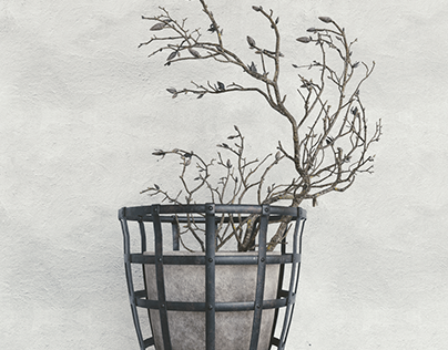 3d model decor branch dry magnolia.