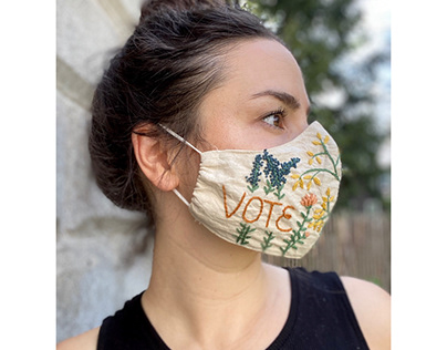 Embroidered Face Mask - Vote