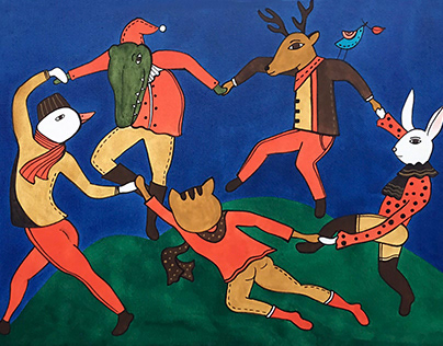 Animals Dancing in Forest / Illustration on newspaper