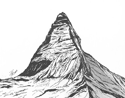 Mountains, minimal, pen & pencil