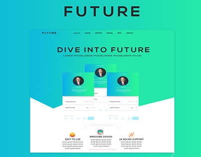 FUTURE landing app page UI