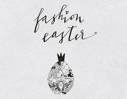 Fashion Easter. Hand drawn Fashion illustration