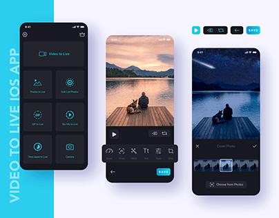 iOS App UI. Video to Live App Designed for iOS.