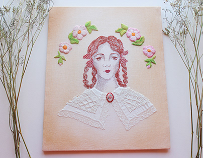 The Lady with the Rose Cameo / Hand Embroidery