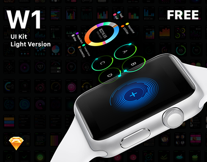 W1 UI Kit for Apple Watch apps. FREE Version available