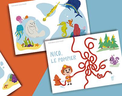 ilustraciones para libro infantil de actividades