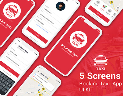 Taxi Booking App UI KIT PSD