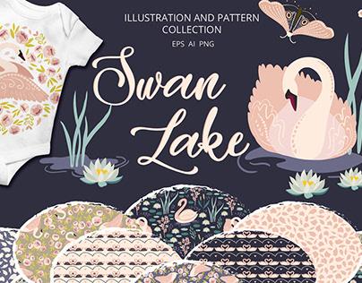 Swan lake Clipart & Patterns bundle