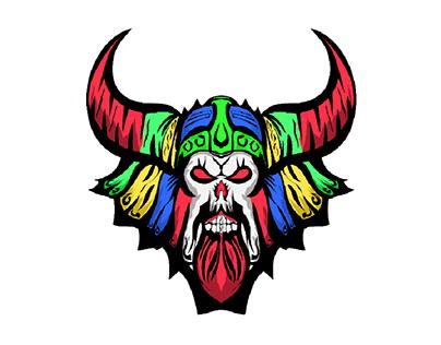 viking Skull mascot for tshirt design