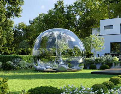 Garden With Glass Shelter, 3D Full Exterior Scene