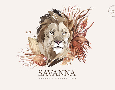 """SAVANNA"" Watercolor animals collection"