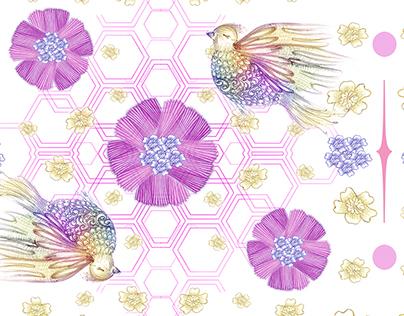 Flores plissadas e pássaros furta cor_infantil