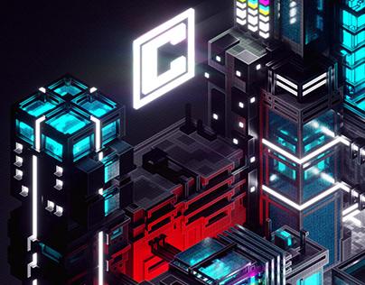 ŁÓDŹ CENTRAL 2100 - Isometric city illustration