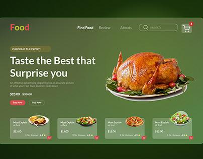 Food landing page design for food website
