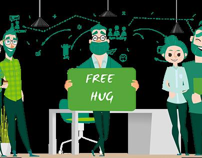 Business man Free hug