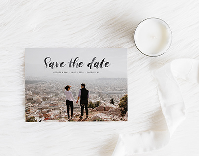 Save the Date Card Template - Stylish Watercolor Script