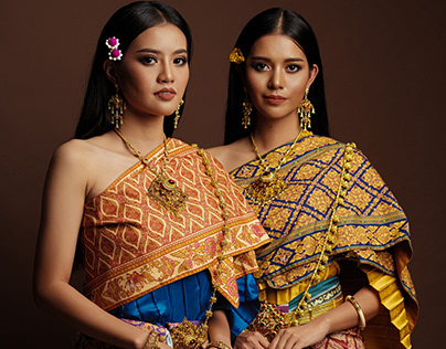 Thai traditional from chintz pattern printing fabric