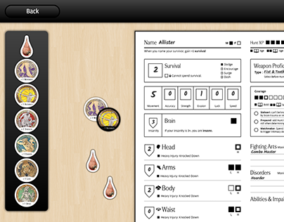 Digital Character Sheet for Kingdom Death