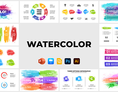 Watercolor Infographics Pack