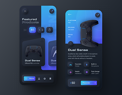 Playstation 5 Neumorphic mobile app concept