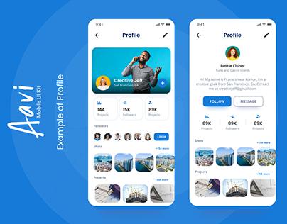 Aavi Mobile App UI KIT Example