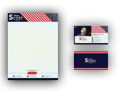 Political campaign letterhead & business card template