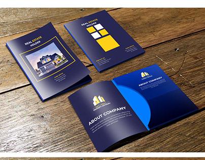 Real estate marketing folder design template