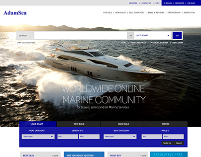 Home Page Design for Adam Sea - Yatch dealers