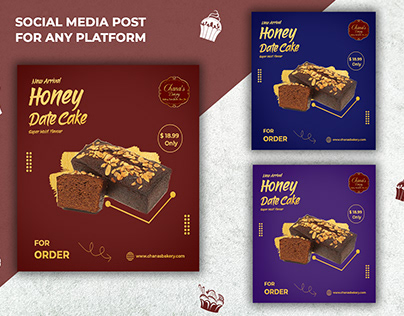 Simple Gold Food Social Media Banner