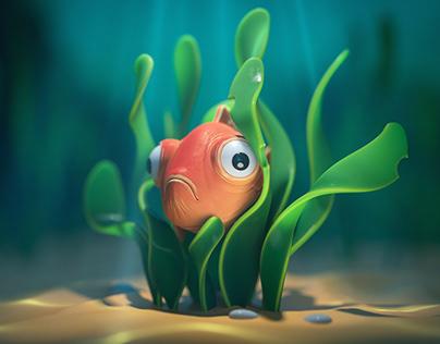Goldfish hiding underwater in seaweed.