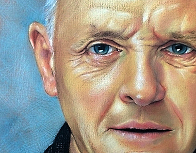 Anthony Hopkins Portrait Colored Pencils on brown paper