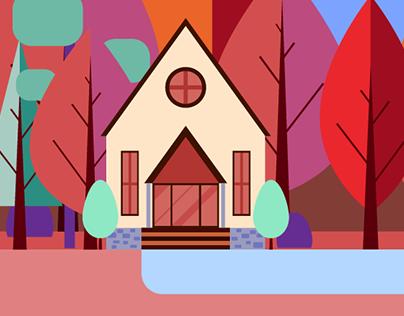 Casas na floresta