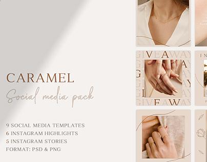 Caramel social media pack