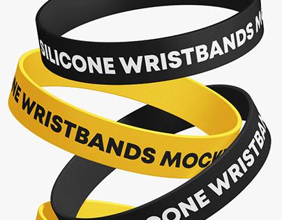 Matte Silicone Wristbands Mockup Set