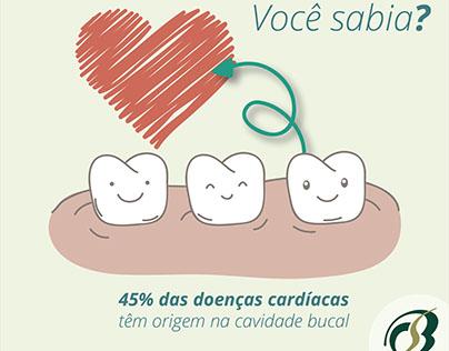 Peças para meios digitais de clínica odontológica.