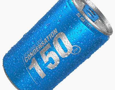 Slim beverage can with water condensation