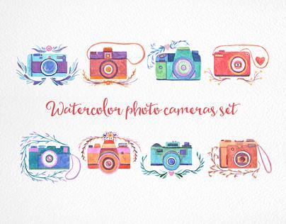 Watercolor photo cameras set