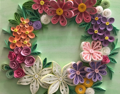 Wreath made with paper quilling