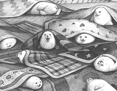 Harp seals in warm dream