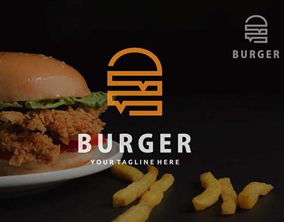 Minimalist logo design burger / hamburger, restaurant