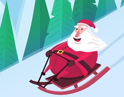 Sleighing Santa - Christmas card
