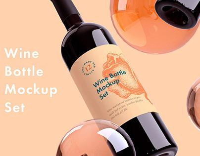 Wine Bottle Mockup + Free sample
