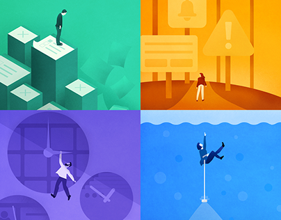 Illustrations for Top 4 Productivity Obstacles eBook