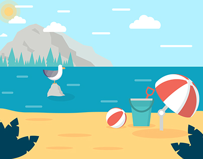 Beach Scene Illustration