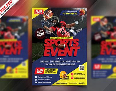 Football Event Flyer Template PSD
