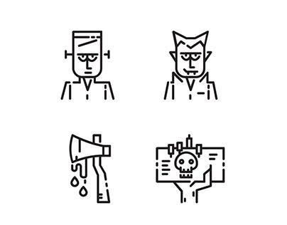 Halloween Outline icon set