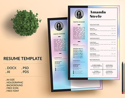 Holographic Resume Template / CV Template/ Letterhead