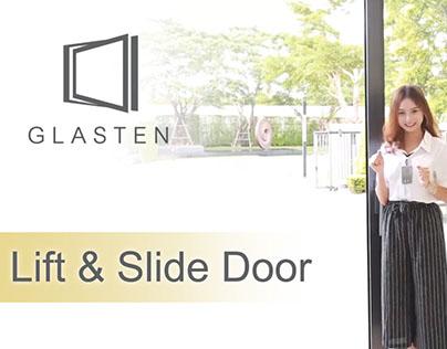 อลูมิเนียมยูโรโปรไฟล์ Glasten ประตูบานเลื่อน Lift&Slide