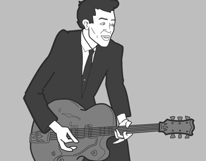 Chuck Berry cartoon portrait
